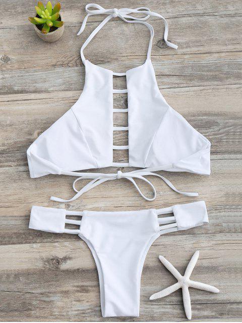best Ladder Cutout Halter Bathing Suit - WHITE L Mobile