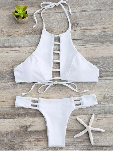 new Ladder Cutout Halter Bathing Suit - WHITE S Mobile