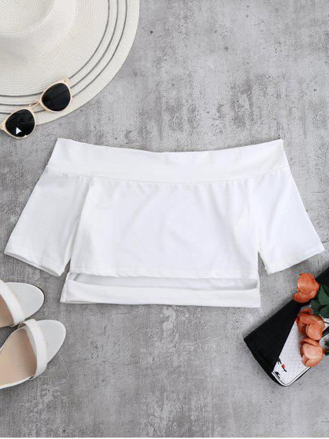 best Off Shoulder Cut Out Crop Top - WHITE S Mobile