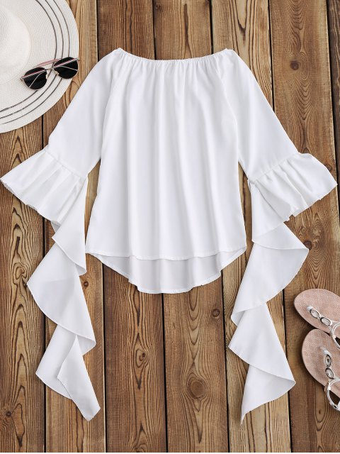 shops Dramatic Bell Sleeve Off The Shoulder Top - WHITE S Mobile
