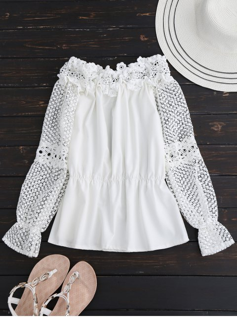 fashion Crochet Lace Off The Shoulder Top - WHITE M Mobile
