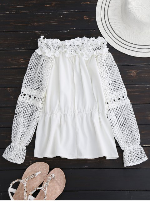 chic Crochet Lace Off The Shoulder Top - WHITE S Mobile