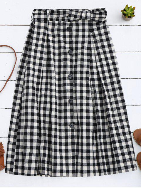 women's Button Up Bowknot A-Line Skirt - BLACK L Mobile