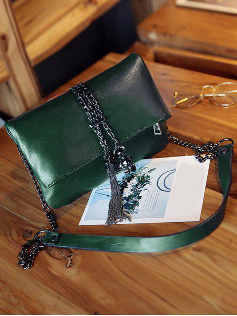 lady Chains Tassel Fold Down Crossbody Bag - GREEN  Mobile
