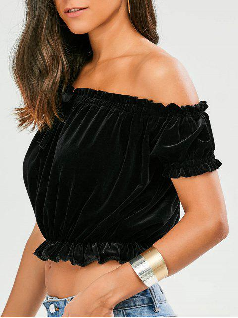 buy Ruffles Off The Shoulder Velvet Top - BLACK M Mobile