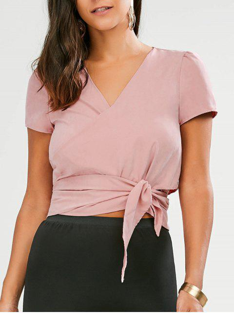 lady Cropped Wrap Top - PINK 2XL Mobile