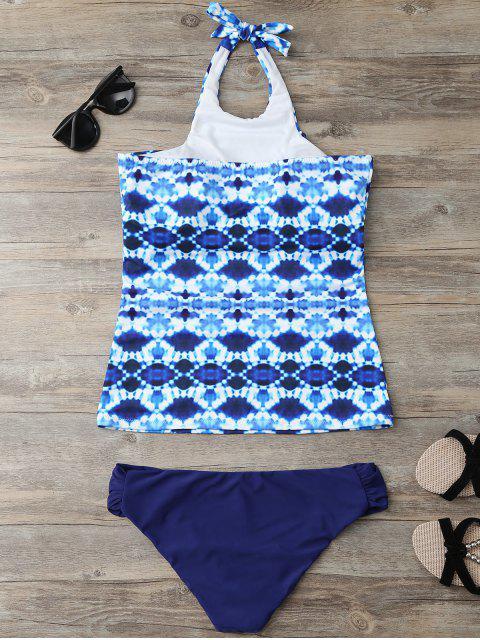 ladies Halter Tie-Dyed Padded Tankini Set - PURPLISH BLUE M Mobile