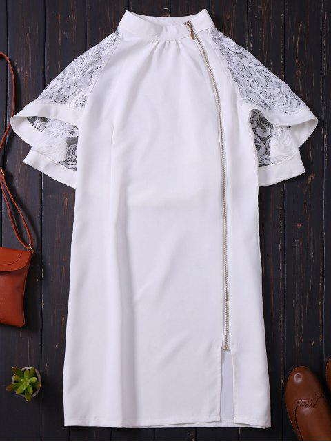 fancy Zip Up Lace Cape Bodycon Dress - WHITE L Mobile