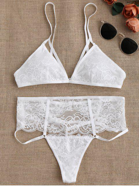 outfit Cut Out High Waisted Banded Lace Bra Set - WHITE M Mobile