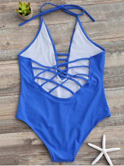 best Strappy Halter One Piece Swimwear - BLUE M Mobile
