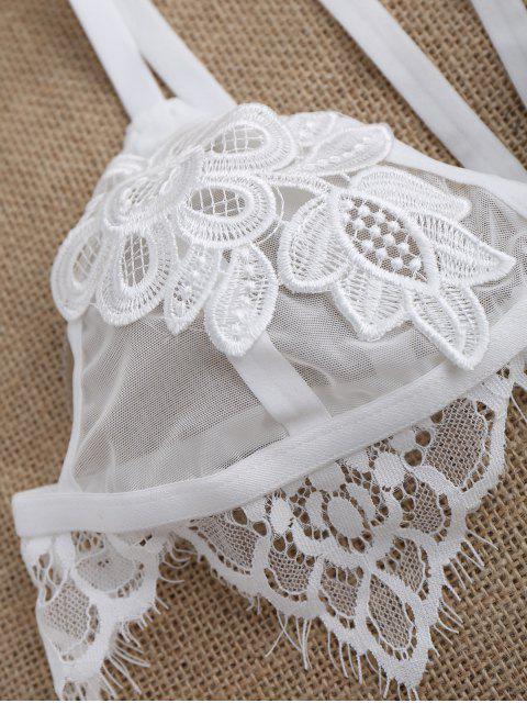 outfit Harness Applique Lace Trim Mesh Bra - WHITE M Mobile