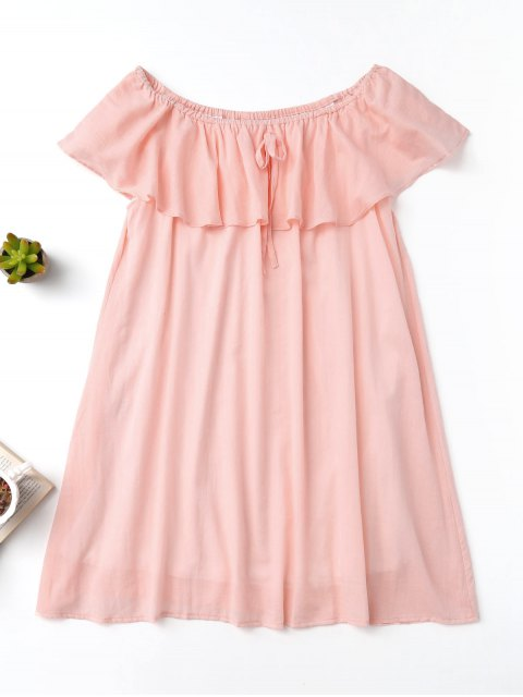 new Frilly Off The Shoulder Dress - PINK L Mobile