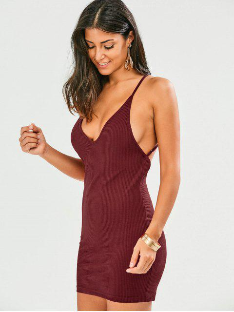 unique Criss Cross Backless Bodycon Dress - WINE RED 2XL Mobile
