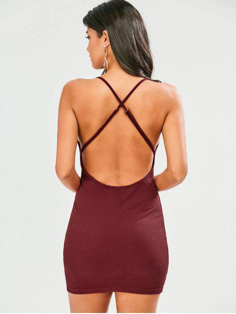 Robe collante à dos nu à bretelle entrecroisée - Rouge vineux  2XL Mobile