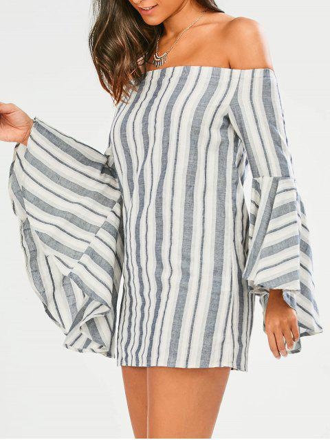 online Stripes Off The Shoulder Tunic Dress - STRIPE 2XL Mobile
