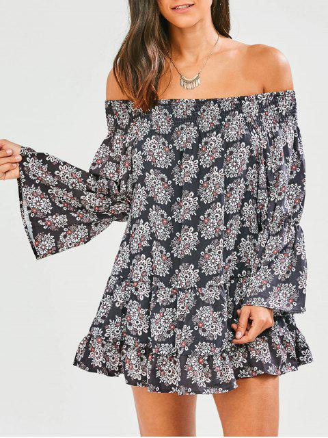 outfit Floral Off The Shoulder Tunic Dress - BLACK S Mobile