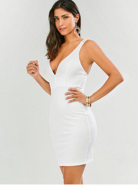 Robe collante à bretelle à col plongeant - Blanc XL Mobile