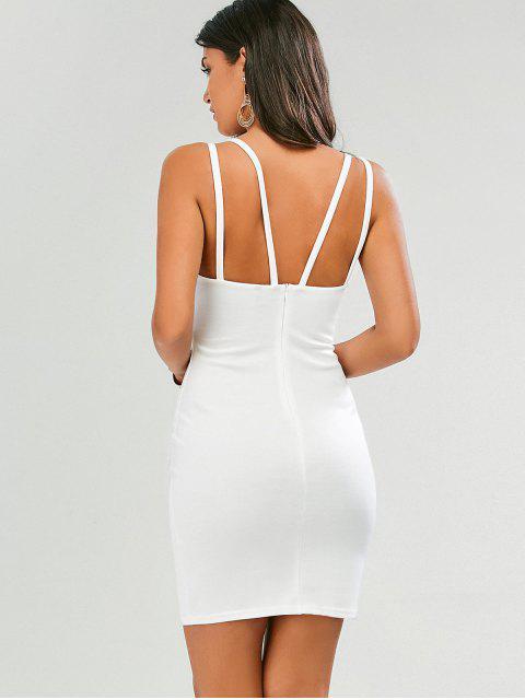 chic Plunge Strappy Bodycon Dress - WHITE L Mobile