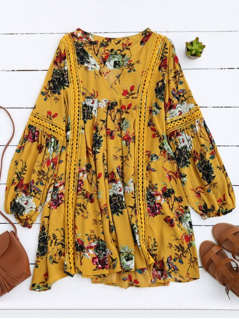 shop Cut Out Floral Tunic Dress - YELLOW M Mobile
