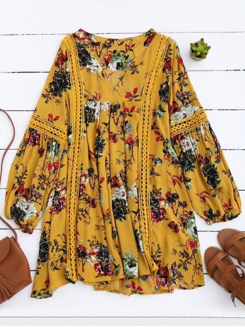 Robe Florale à Empiècement Ajouré Manches Lanternes - Jaune S Mobile