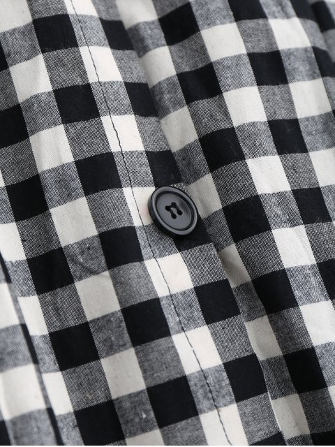 women's Button Up Bowknot A-Line Skirt - BLACK L Mobile
