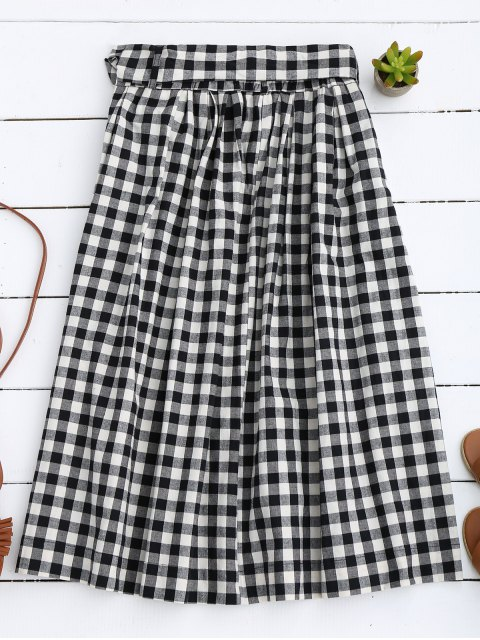lady Button Up Bowknot A-Line Skirt - BLACK S Mobile