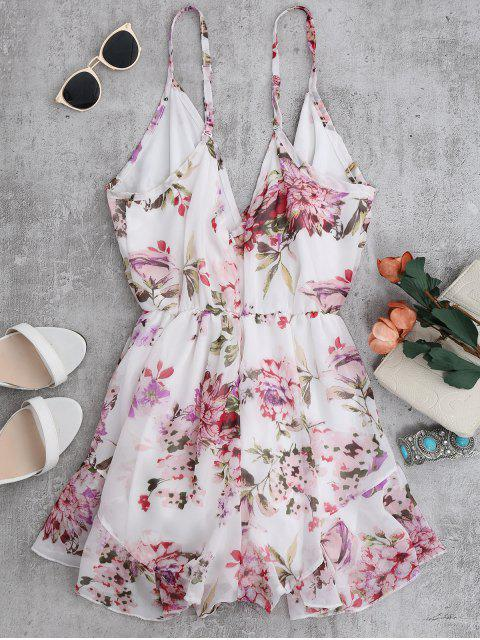 sale Cami Floral Chiffon Holiday Romper - WHITE S Mobile