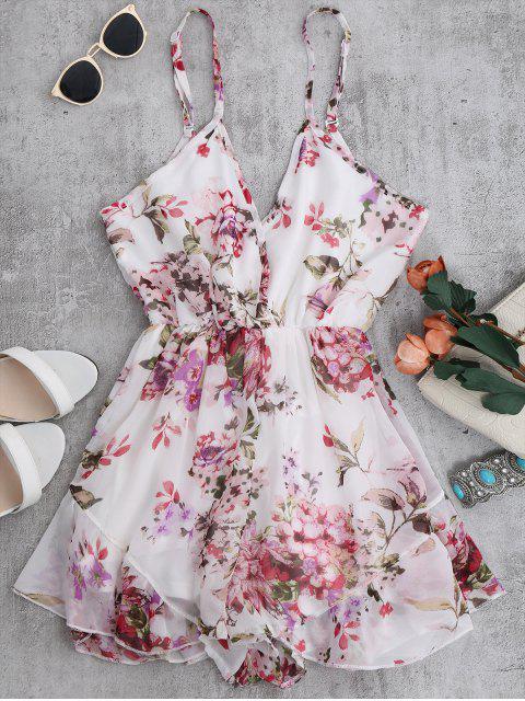 Cami Floral Chiffon Holiday Romper - Blanc XL Mobile