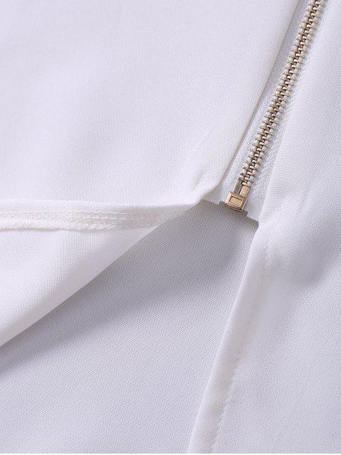 lady Zip Up Lace Cape Bodycon Dress - WHITE M Mobile