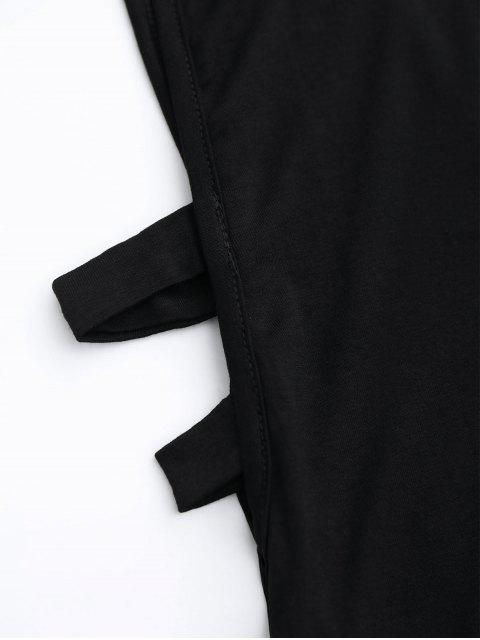 sale Stand Collar Armhole Cut Out Tank Top - BLACK L Mobile