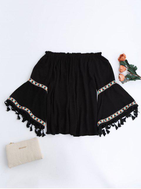 shop Off Shoulder Flare Sleeve Tassel Blouse - BLACK ONE SIZE Mobile