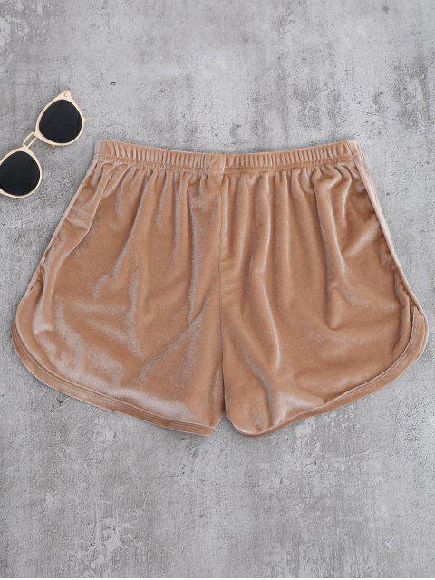 buy Sporty Velvet Shorts - KHAKI M Mobile