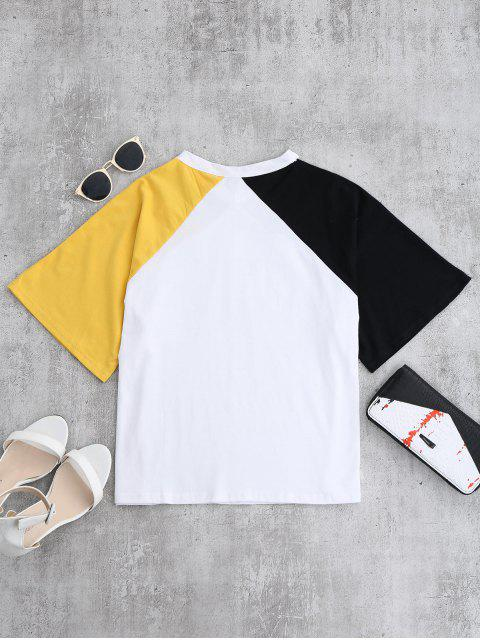 latest Color Block Cold Shoulder Oversized Tee - YELLOW ONE SIZE Mobile