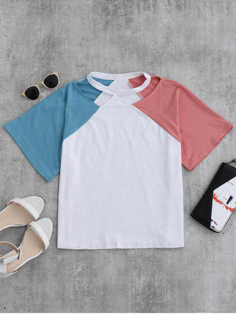 trendy Color Block Cold Shoulder Oversized Tee - PINK ONE SIZE Mobile