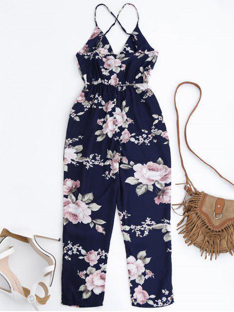 fashion Slip Floral Surplice Jumpsuit With Tie Belt - COLORMIX S Mobile