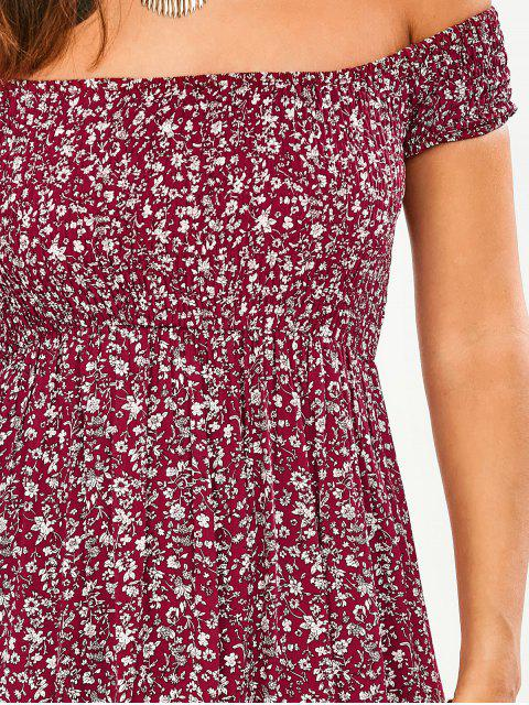 affordable Tiny Floral Off The Shoulder Slit Dress - FLORAL M Mobile