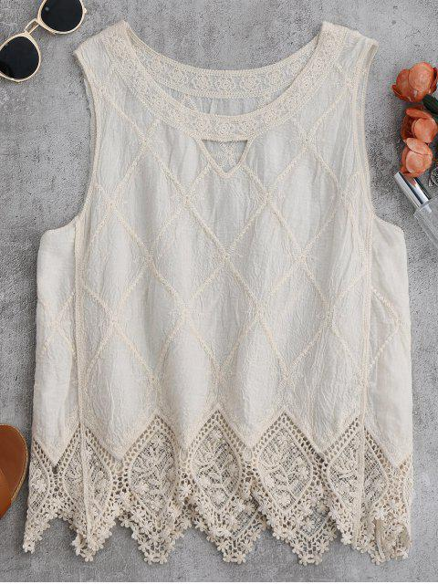 women Cotton Blend Lace Geometric Scalloped Tank Top - OFF-WHITE ONE SIZE Mobile