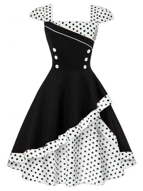 Polka Punkt Knopf Vintage Mieder Kleid - Weiß L Mobile