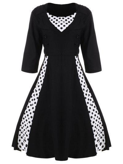 Image of A Line Polka Dot Plus Size Dress