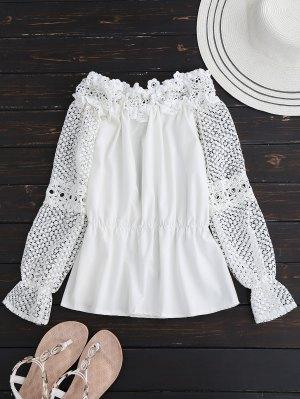 Crochet Lace Off O Ombro Topo - Branco S