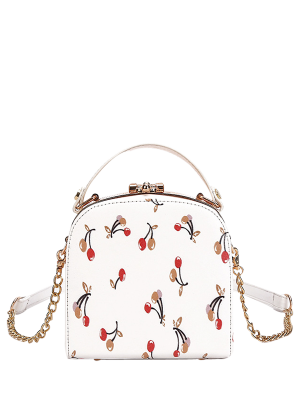 Cherry Print Metal Trim Handbag