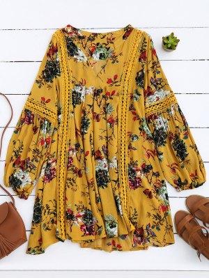 Robe Florale à Empiècement Ajouré Manches Lanternes