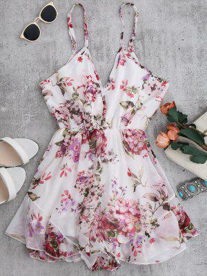 Cami Floral Chiffon Holiday Romper - Blanc M