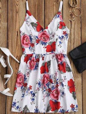 Mini Vestido De Sol Con Tirantes Finos Con Estampado Floral - Blanco M