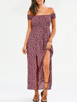 Kleine blumen Schulterfrei Kleid mit Schlitz