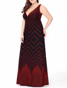 فستان الحجم الكبير متعرج ماكسي غارق رسمي - أحمر 5xl