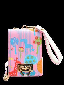 Buy Cartoon Print Chains Crossbody Bag - PINK