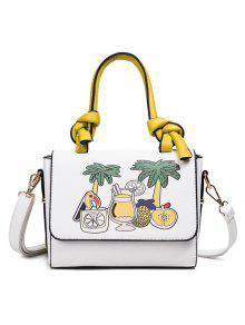 طباعة حقيبة يد جلدية فو - أبيض
