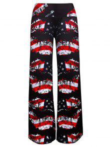 Pantalones Largos De La Impresión De La Bandera Americana De La Pierna - Negro 2xl