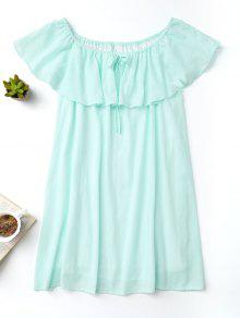 Frilly Off The Shoulder Dress - Turquoise M